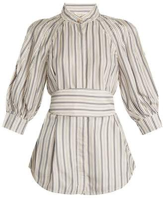 Zimmermann Painted Heart Striped Satin Twill Shirt - Womens - Grey Multi