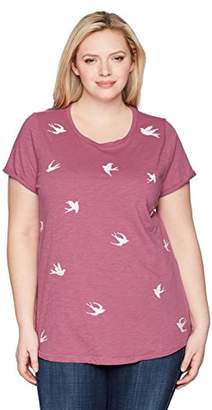 Lucky Brand Women's Size Plus All Over Bird TEE