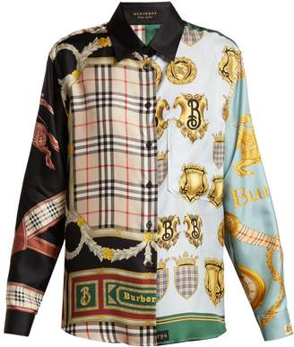 Burberry Panelled scarf-print silk blouse