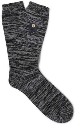 Folk Leather-Trimmed Melange Stretch Cotton-Blend Socks - Men - Gray