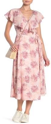 Bobeau Palm Flutter Sleeve Wrap Maxi Dress