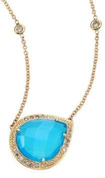 Jacquie Aiche Partial Pave Diamond, Blue Opal& 14K Yellow Gold Teardrop Necklace
