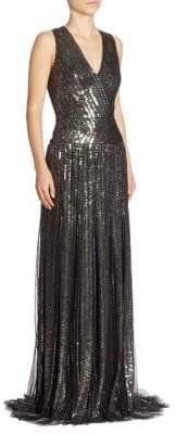 Pamella Roland Sequin Beaded Gown