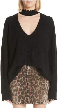 R 13 High Waist Leopard Print Distressed Denim Mini Skirt