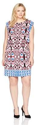 London Times Women's Plus Size Short Sleeve Round Neck Jersey Blouson Dress