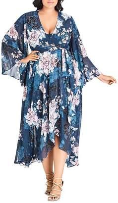 City Chic Plus Jade Blossom Wrap Maxi Dress