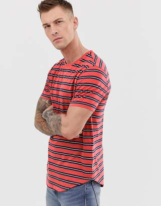 ONLY & SONS curved hem stripe t-shirt in coral