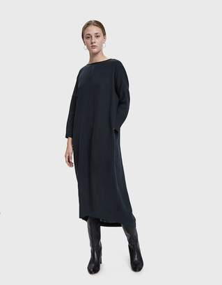 Black Crane Pleated Cocoon Dress in Dark Green
