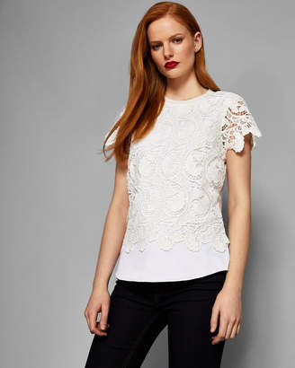 Ted Baker KITTA Lace front short sleeved knit