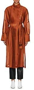 AKIRA NAKA Women's Pleated Organza Robe Coat-Brown
