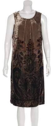 Etro Paisley Print Velvet Dress plum Paisley Print Velvet Dress