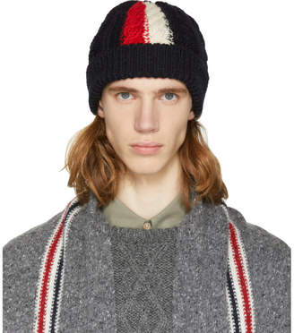 Thom Browne SSENSE Exclusive Navy Aran Cable Knit Beanie