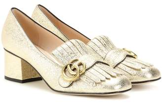 Gucci Metallic leather loafer pumps