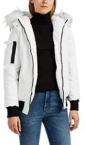 Barneys New York WOMEN'S FAUX-FUR-TRIMMED TECH-TWILL PARKA - WHITE SIZE S