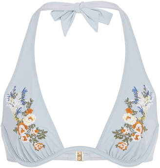 95fed0e7f4 Stella McCartney Floral-Embroidered Bikini Top