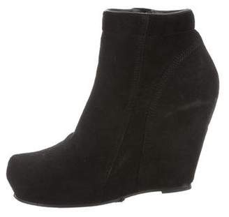 Rick Owens Round-Toe Wedge Booties