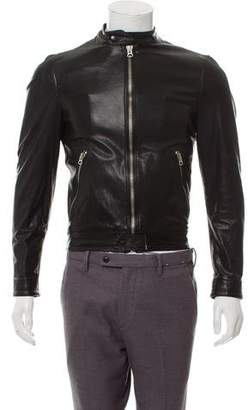 Burberry Leather Exploded Check-Lined Cafe Racer Jacket