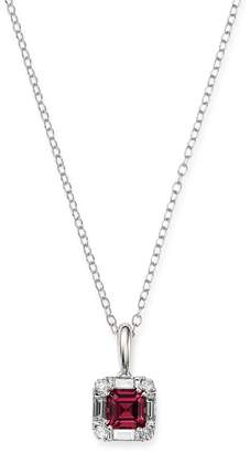 Bloomingdale's Rhodolite Garnet & Diamond Square Pendant Necklace in 14K White Gold, 17 - 100% Exclusive