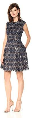 Vince Camuto Women's Bonded Lace Fit and Flare Dress,6