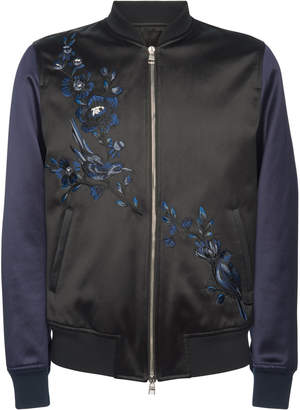 Alexander McQueen Floral-Embroidered Satin Jacket
