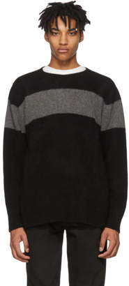 The Elder Statesman SSENSE Exclusive Black and Grey Cashmere Striped Racing Sweater