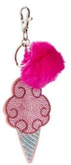 Cotton Candy Bari Lynn Fox Fur Crystal Keychain