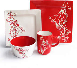 Jay Import Co Blossom Branch 16-Piece Square Dinnerware Set