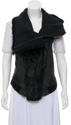 Helmut Lang Asymmetrical Fur-Trimmed Wool Vest