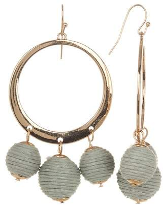 Shashi Naomi Threaded Sphere Hoop Drop Earrings
