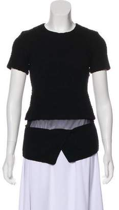 Opening Ceremony Short Sleeve Mesh-Accented Top