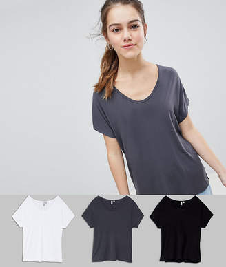 Asos Design Petite T-Shirt With Drapey Batwing Sleeve 3 Pack