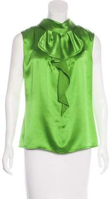 Magaschoni Silk Ruffle-Trimmed Top