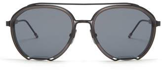 Thom Browne Aviator Frame Sunglasses - Mens - Black