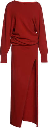 Jacquemus Jemaa Draped Wool and Cashmere-Blend Midi Dress