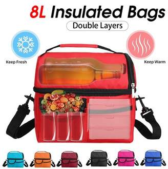 Kadell Hot/Cooler Double Insulated 8L Lunch Tote Bag Portable Thermal Lunch Bag Waterproof Picnic Carry Food Storage Container Box Case With Adjustable Shoulder Strap,Zipper,Multi-pocket