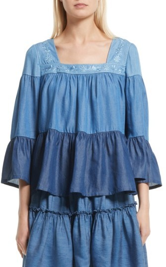 Women's Kate Spade New York Embroidered Chambray Top