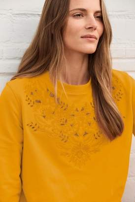Next Womens Ochre Embroidery Detail Sweatshirt