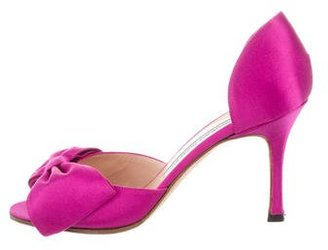 Manolo Blahnik Satin d'Orsay Pumps $225 thestylecure.com