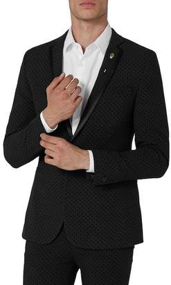 Topman Dotted Ultra Skinny Fit Suit Jacket