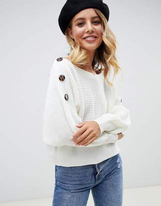 Asos (エイソス) - ASOS DESIGN Sweater in ripple stitch with button detail