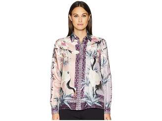 Versace Shirts - Rosa + Stampa Button Up Blouse