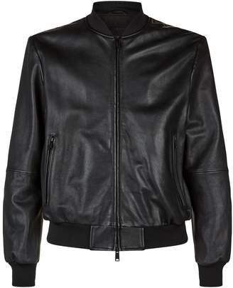 Emporio Armani Leather Eagle Bomber Jacket
