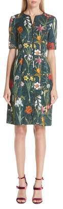 Oscar de la Renta Floral Harvest Cloque Dress