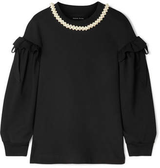 Simone Rocha Embellished Ruffled Stretch-jersey Top - Black