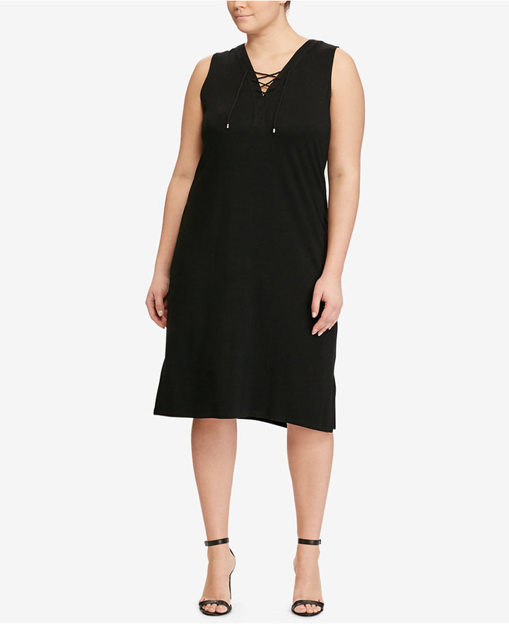 Lauren Ralph LaurenLauren Ralph Lauren Plus Size Lace-Up French Terry Dress