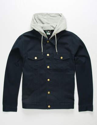 Lrg Hooded Two For Navy Mens Denim Jacket