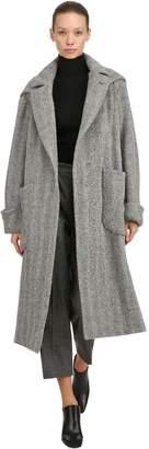 Lardini Hooded Alpaca & Wool Herringbone Coat