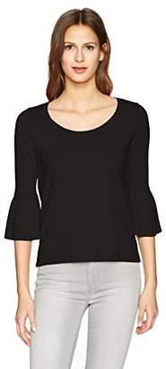 525 America 529 America Women's Scoop Neck with Ruffle Sleeve Sweater