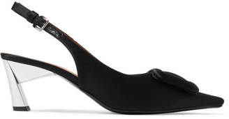 Marni Embellished Satin Slingback Pumps - Black
