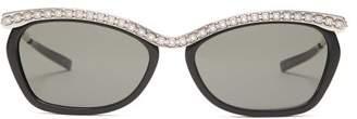 Gucci Crystal Embellished Rectangular Acetate Sunglasses - Womens - Black Silver